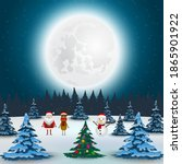santa claus  reindeer and... | Shutterstock . vector #1865901922
