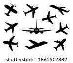 airplanes icon set. plane black ... | Shutterstock .eps vector #1865902882
