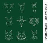 vector set of chalk sketch farm ... | Shutterstock .eps vector #1865911015