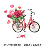 Vintage Bicycle With Pink And...