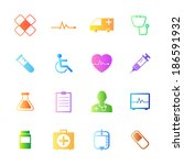 colorful style medical icons... | Shutterstock .eps vector #186591932