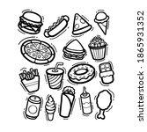 set of doodle junk food hand...   Shutterstock .eps vector #1865931352