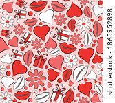 seamless pattern with lips... | Shutterstock .eps vector #1865952898