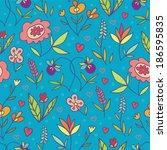 doodle flowers bright blue... | Shutterstock . vector #186595835