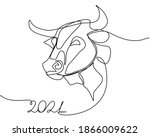 bull head continuous one line... | Shutterstock .eps vector #1866009622