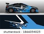 decal car wrap design vector.... | Shutterstock .eps vector #1866054025