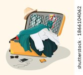 open travel suitcase. clothes... | Shutterstock .eps vector #1866104062