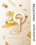 happy new year 2021 greeting... | Shutterstock .eps vector #1866109588