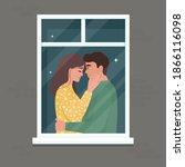 portrait of a romantic couple... | Shutterstock .eps vector #1866116098