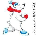 Skating Polar Bear Cartoon....