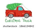 car with a christmas tree.... | Shutterstock .eps vector #1866134842