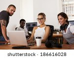 team of young entrepreneurs... | Shutterstock . vector #186616028