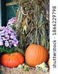 Rustic Fall Mums And Pumpkins...