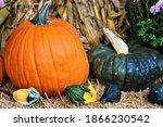 Seasonal Pumpkins And Hay Bales ...
