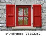red window shutters  grey stone ... | Shutterstock . vector #18662362