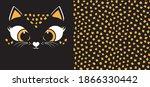 cute little kitten face. spots... | Shutterstock .eps vector #1866330442