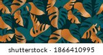 gold tropical leaves background.... | Shutterstock .eps vector #1866410995