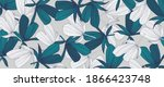green tropical leaves wallpaper ... | Shutterstock .eps vector #1866423748