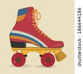 vintage roller skates | Shutterstock .eps vector #186644186