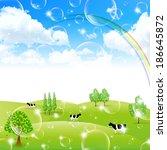 rainbow sky landscape   Shutterstock .eps vector #186645872