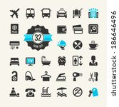 hotel services web icon set | Shutterstock .eps vector #186646496
