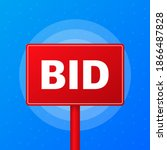bid realistic red table on blue ... | Shutterstock .eps vector #1866487828