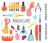 big hand drawn set of cosmetic... | Shutterstock .eps vector #1866514405