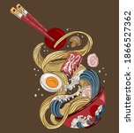 traditional japanese ramen and... | Shutterstock .eps vector #1866527362
