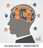 Stock vector infographics template with head brain puzzle and business icons concept modern business 186653825