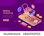 online shopping  isometric... | Shutterstock .eps vector #1866542932