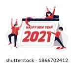 happy new year 2021 concept in...   Shutterstock .eps vector #1866702412