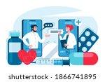online medical consultation of... | Shutterstock .eps vector #1866741895