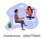 young man and woman talk by...   Shutterstock .eps vector #1866770665