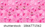 seamless valentine pattern with ... | Shutterstock .eps vector #1866771562
