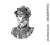 victorian woman in a hat and...   Shutterstock .eps vector #1866809452