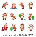 cute ox chinese. 2021 ox zodiac.... | Shutterstock . vector #1866849178