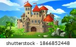 a stone medieval castle among... | Shutterstock .eps vector #1866852448