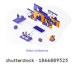 video conference isometric web...