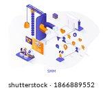 smm isometric web banner....