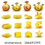 gold credit  money  coins set ...