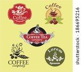 set of five vintage coffee...   Shutterstock .eps vector #186695216