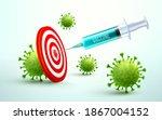 coronavirus vaccine and syringe ... | Shutterstock .eps vector #1867004152