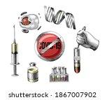 covid 19 development vaccine...   Shutterstock .eps vector #1867007902