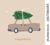 happy holidays. funny vector... | Shutterstock .eps vector #1867086085