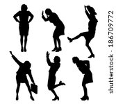 vector silhouette of women on a ... | Shutterstock .eps vector #186709772