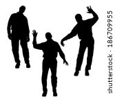 vector silhouette of people who ... | Shutterstock .eps vector #186709955