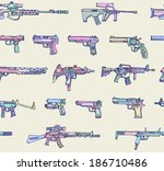 seamless pattern with weapons... | Shutterstock .eps vector #186710486