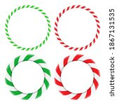candy cane circle frame set.... | Shutterstock .eps vector #1867131535