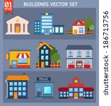 modern  flat vector  buildings... | Shutterstock .eps vector #186713756