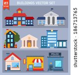 modern  flat vector  buildings... | Shutterstock .eps vector #186713765